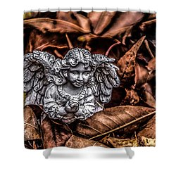 Angel Of Fall Shower Curtain by Ray Congrove