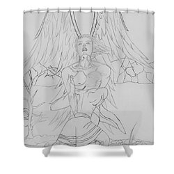 Angel Of God Struggle Shower Curtain by Roberta Byram