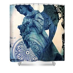 Shower Curtain featuring the digital art Angel Of Peace - Art Nouveau by Absinthe Art By Michelle LeAnn Scott