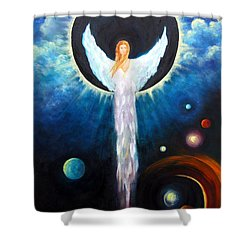 Shower Curtain featuring the painting Angel Of The Eclipse by Marina Petro