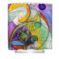 Angel Of The Wheels Of Time Shower Curtain