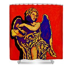 Angel On Red Shower Curtain