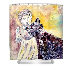 Shower Curtain featuring the painting Angel Or Demon by Alfred Motzer