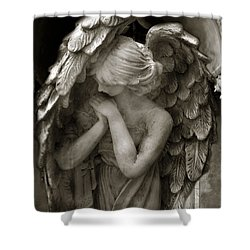Angel Photography - Dreamy Spiritual Angel Art - Guardian Angel Art In Prayer  Shower Curtain by Kathy Fornal