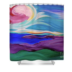 Shower Curtain featuring the painting Angel Sky by First Star Art