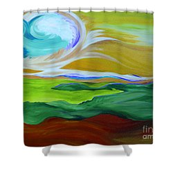Angel Sky Green By Jrr Shower Curtain by First Star Art