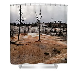 Angel Terrace Sunset Shower Curtain by Sue Smith