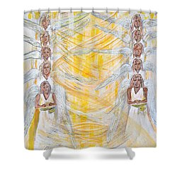 Angel Winds Flames Of Fire Shower Curtain by Cassie Sears