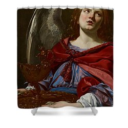 Angel With Attributes Of The Passion Shower Curtain by Simon Vouet