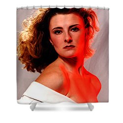 Angela Red Leather Shower Curtain by Gary Gingrich Galleries