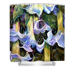 Angel's Trumpets - Floral Art By Betty Cummings Shower Curtain by Sharon Cummings