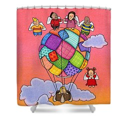Angels With Hot Air Balloon Shower Curtain by Sarah Batalka