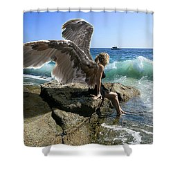 Angels- Yes I'm With You Shower Curtain