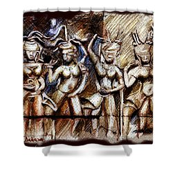 Angkor Wat - Apsara Shower Curtain by Daliana Pacuraru