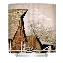Angle Top Barn Shower Curtain by Marilyn Hunt