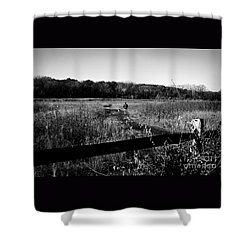 A Man And His Dog Shower Curtain