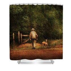 Animal - Dog - A Man And His Best Friend Shower Curtain by Mike Savad