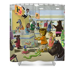 Animal Supermarket Shower Curtain by Martin Davey