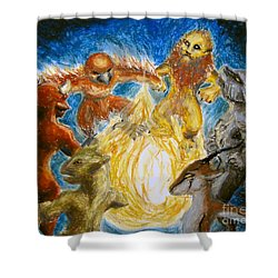 Animal Totem Dancers - Transformed Shower Curtain by Samantha Geernaert