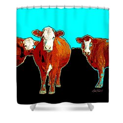 animals - cows - Pop Art Cows on Turquoise Shower Curtain