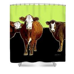 animals - cows - Pop Art Three on Green Shower Curtain by Ann Powell