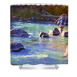 Animas River Fly Fishing Shower Curtain