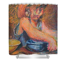 Anna And Mixing Bowls Shower Curtain by Nancy Mauerman