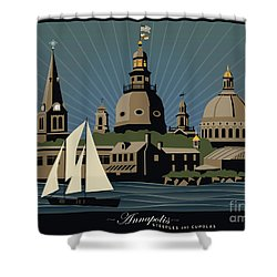 Annapolis Steeples And Cupolas Serenity With Border Shower Curtain