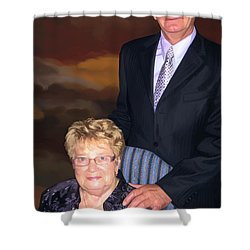 Shower Curtain featuring the painting Anniversary Portrait by Tim Gilliland