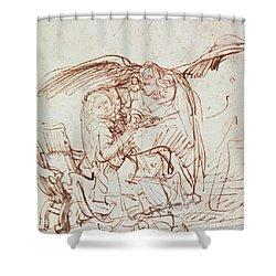Annunciation  Shower Curtain by Rembrandt Harmenszoon van Rijn
