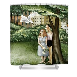 Annunciation With Burning Building Shower Curtain by Caroline Jennings