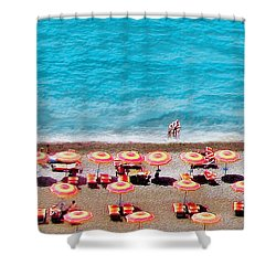 Another Day In Paradise-positano-digitized Shower Curtain by Jennie Breeze