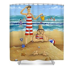 Another Fine Mess Shower Curtain by Peter Adderley