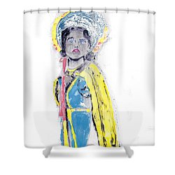 Another Time Monoprint Shower Curtain by Verana Stark