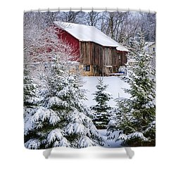 Another Wintry Barn Shower Curtain by Joan Carroll