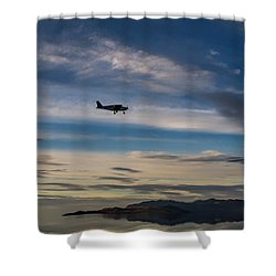 Shower Curtain featuring the photograph Antelope Island - Lone Airplane by Ely Arsha