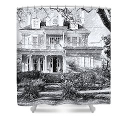 Anthemion At 4631 St Charles Ave. New Orleans Sketch Shower Curtain by Kathleen K Parker
