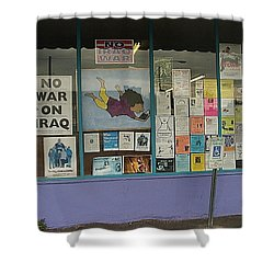 Anti-iraq War Posters 4th Avenue Book Store Window Tucson Arizona 2000 Shower Curtain by David Lee Guss
