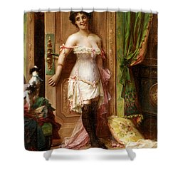 Anticipation Shower Curtain by Hanz Zatzka