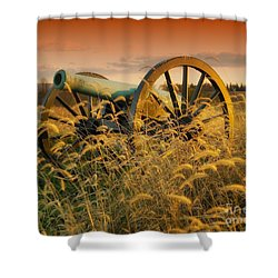 Shower Curtain featuring the photograph Antietam Maryland Cannon Battlefield Landscape by Paul Fearn