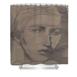 Shower Curtain featuring the drawing Antigone By Jrr by First Star Art