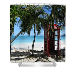 Antigua - Phone Booth Shower Curtain by HEVi FineArt