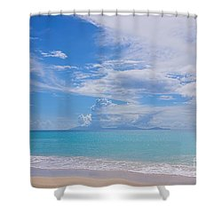 Antigua View Of Montserrat Volcano Shower Curtain by Olga Hamilton