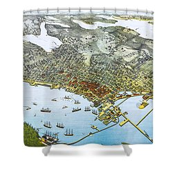 Antique 1891 Seattle Map Shower Curtain by Dan Sproul