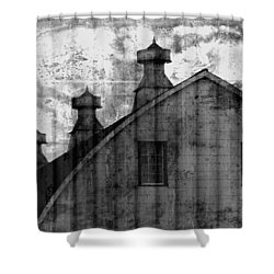 Antique Barn - Black And White Shower Curtain