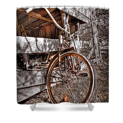 Antique Bicycle Shower Curtain by Debra and Dave Vanderlaan