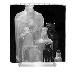 Antique Bottles 4 Black And White Shower Curtain by Phyllis Denton