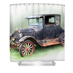 Shower Curtain featuring the painting Antique Car by Bonnie Willis