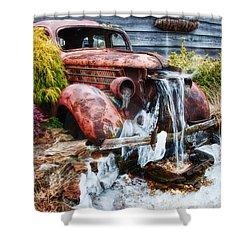 Antique Car Water Fountain Columbus Georgia Shower Curtain by Vizual Studio