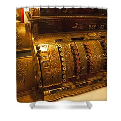 Shower Curtain featuring the photograph Antique Cash Register by Jerry Cowart